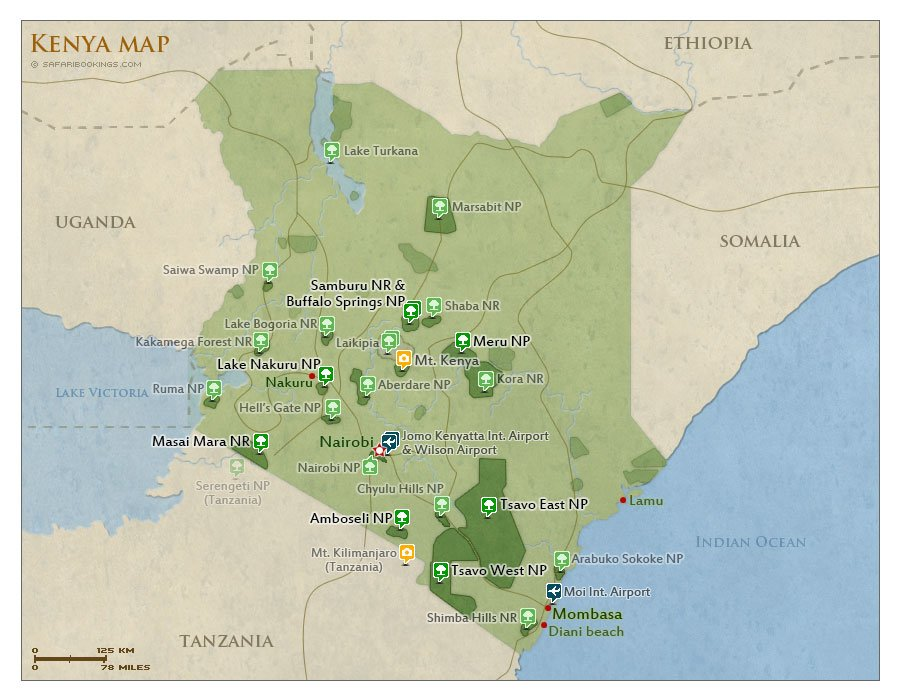 map of Kenya destinations